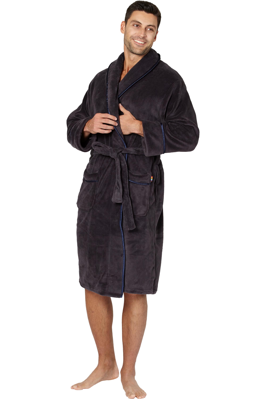 Intimo Mens Plush Robe with Satin Trim